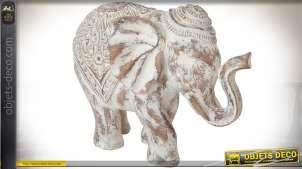 Statuette d'éléphant imitation bois sculpté vieilli et blanchi 40 cm