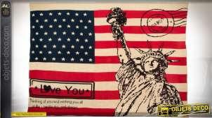Grand plaid décoratif thème USA et New-York en acrylique 170 x 130 cm