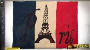 Plaid en acrylique en 170 x 130 sur le thème de Paris coloris bleu, blanc, rouge