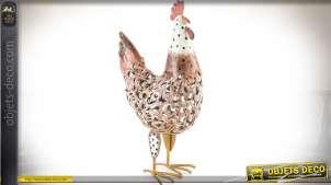 Poule en métal peint pour décoration esprit campagne stylisé 50 cm