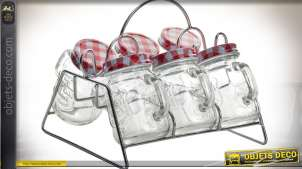 Support décoratif rétro argenté avec six pots en verre à épice