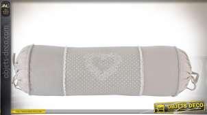 Série de 4 traversin gris clair à pois blanc en coton de style romantique 40 cm