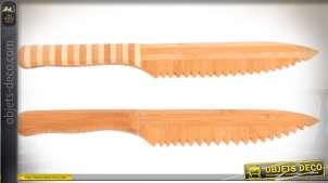 Série de 2 grands couteaux décoratif en bambou finition bois naturel 30 cm