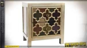 Table de chevet orientale et chic, à 2 tiroirs, patine vermeille effet veilli 62 cm