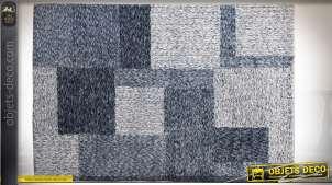 Grand tapis 180 x 120 en polyester à motifs de carré et rectangles bleus