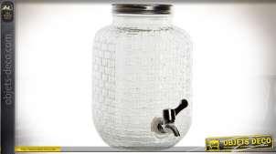 Distributeur de boisson 4 litres en verre gravé, avec robinet verseur 25 cm