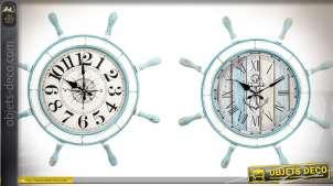 Duo d'horloges barres à roues en bois et verre style rétro et bord de mer Ø 72 cm