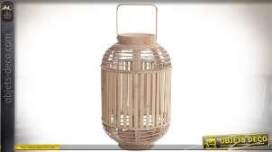 Lanterne bougeoir cylindrique en bambou naturel avec support central en verre
