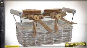 Petit panier en osier effet vieilli avec 2 pots en verre et bouchons en liège