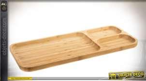 Série de 4 plateaux de service compartimentés en bambou naturel 39 x 16 cm