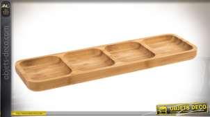 Long plateau de service compartimenté en bambou naturel 33 cm