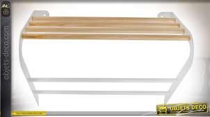 Etagère porte-serviette en bois et métal coloris blanc et bois naturel 46 cm