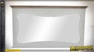 Miroir de cheminée rétro corniche bois vieilli et gris clair 105 cm