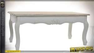 Table basse de style classique bois naturel et patine blanche 120 x 60 cm