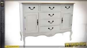 Commode à 6 tiroirs et 2 porte patine blanc antique et plateau bois naturel