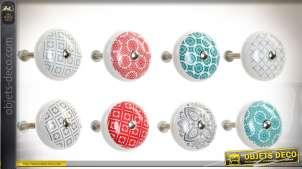 Boutons de tiroirs en métal et céramique 24 modèles variés style rétro Ø 4 cm