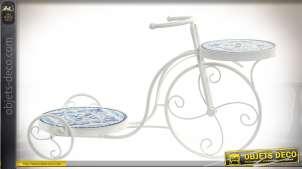 Vélo décoratif porte-plantes métal blanc avec deux plateaux en céramique 58,5 cm