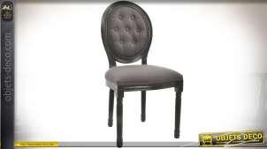 Chaise médaillon à dossier capitonné de style Louis XVI finition anthracite