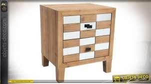 Table de chevet 2 tiroirs style Art Déco en bois ciré à façade en damier à miroirs