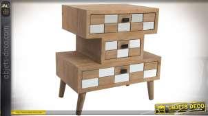 Petite commode ou table de chevet à 3 tiroirs style Art Déco en bois et miroirs