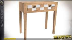 Console esprit Art Déco avec tiroir en damier bois et miroirs, finition bois naturel
