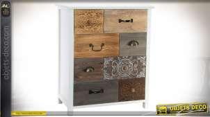 Petite commode à 8 tiroirs effet patchwork de matières et couleurs 71 cm