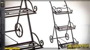 Etagère en métal façon fer forgé noir, en forme de chariot avec trois niveaux 82 cm