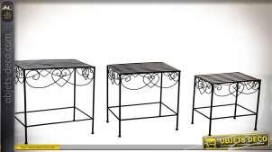 Série de 3 tables basses en métal esprit fer forgé avec plateaux en clairevoie