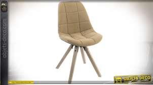 Série de deux chaises vintages piètement en bois vieilli et assis baquet tissu beige 85 cm