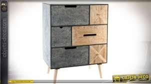 Commode scandinave à six tiroirs bois naturel et gris granité vieilli 79 cm