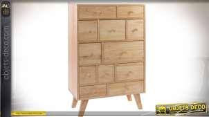 Commode haute de style scandinave en bois naturel clair avec 12 tiroirs
