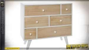 Commode scandinave à 6 tiroirs laquée blanc et finition bois naturel clair