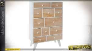 Commode scandinave 12 tiroirs, bâti blanc et façades de tiroirs bois naturel clair
