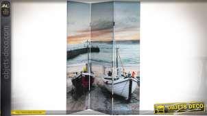 Paravent en bois et toile à 3 pans, illustré sur le thème de la mer et de la pêche