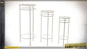 Série de 3 sellettes finition blanche vieillie en métal imitation fer forgé