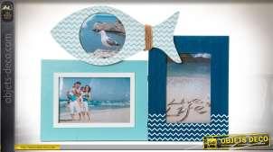 Pêle-mêle à 3 vues en bois coloris bleu style bord de mer 37 x 27 cm