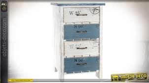 Chiffonnier ou haute table de nuit, à 4 tiroirs style rétro et bord de mer 79 cm