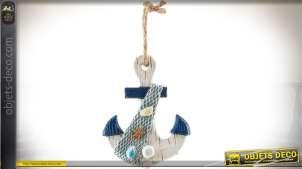 Suspension murale en bois et résine en forme d'ancre de bateau 14 cm