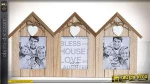 Cadre photos à 3 vues en forme de maisonnettes en bois 45 cm