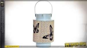 Lanterne bougeoir en métal gris clair et bambou, illustations à motifs de papillons