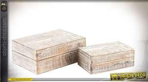 Série de deux boîtes décorative en bois vieilli et blanchi : gravures d'éléphants