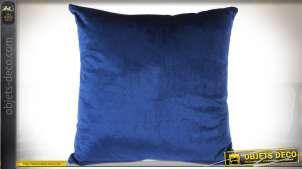 Lot de 4 coussins 40 x 40 cm coloris bleu roi satiné, housse en polyester