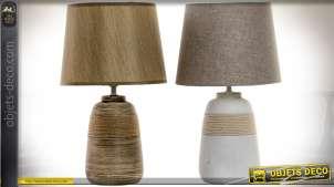 Duo de lampes en céramique et cordages, blanche et grise, sépia et terre d'ombre