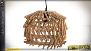 Suspension originale et exotique en assemblage de bois finition naturelle Ø 30 cm