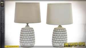 Duo de lampes avec pieds en céramique, motifs géométriques en chevrons