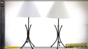 Duo de lampe en métal façon fer forgé avec abat-jour coniques 45 cm