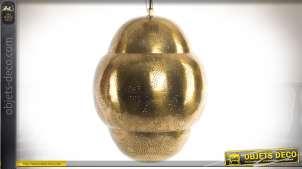 Suspension forme cocon en métal doré brillant style oriental 38 cm
