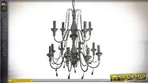 Lustre baroque en métal coloris noir et gris foncé à 12 bras Ø 65 cm