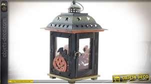 Lanterne en bois et métal style rétro thème Halloween 26,5 cm