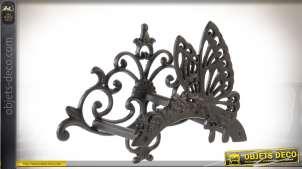 Support mural en fonte pour tuyau d'arrosage ornementation motif papillon 36 cm